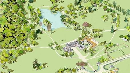 Plan du parc du domaine de Courson
